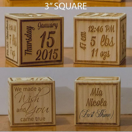 Personalized Laser Etched Wood Blocks