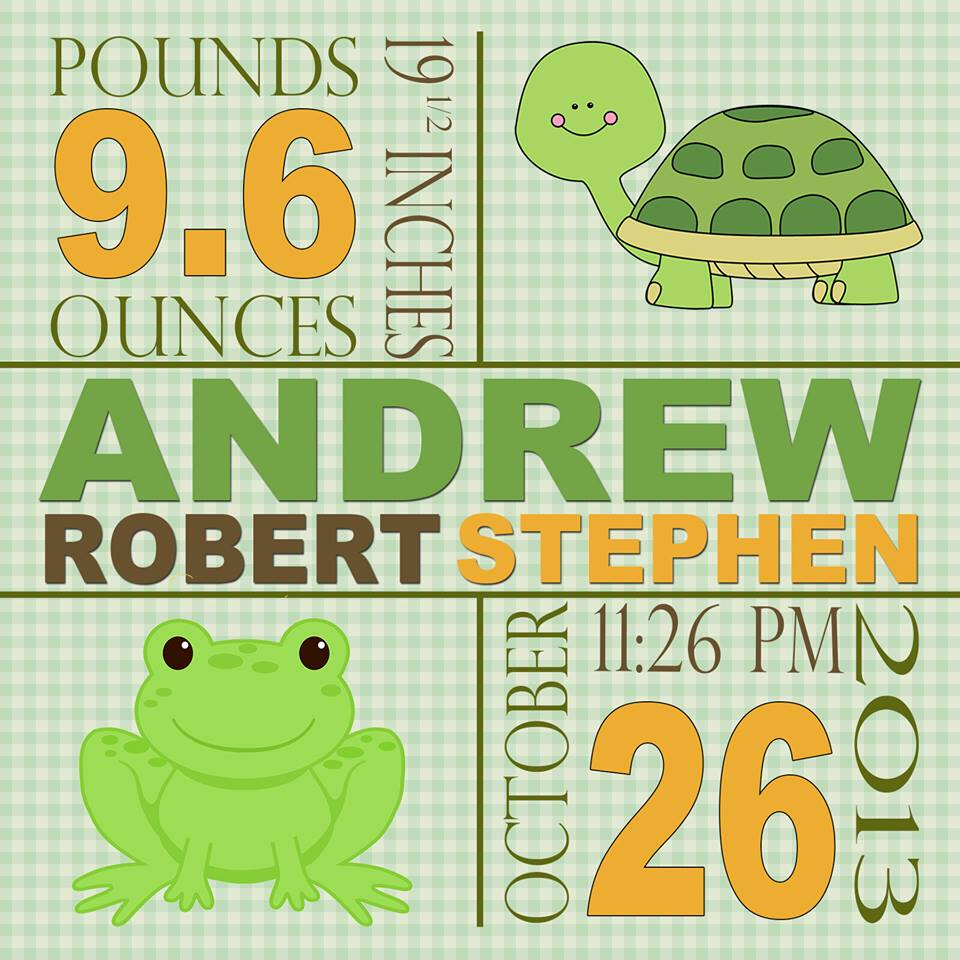 Baby Information Print Turtle Frog Theme