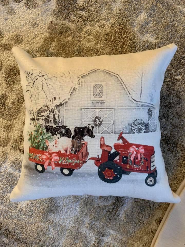 Christmas on the farm theme pillow