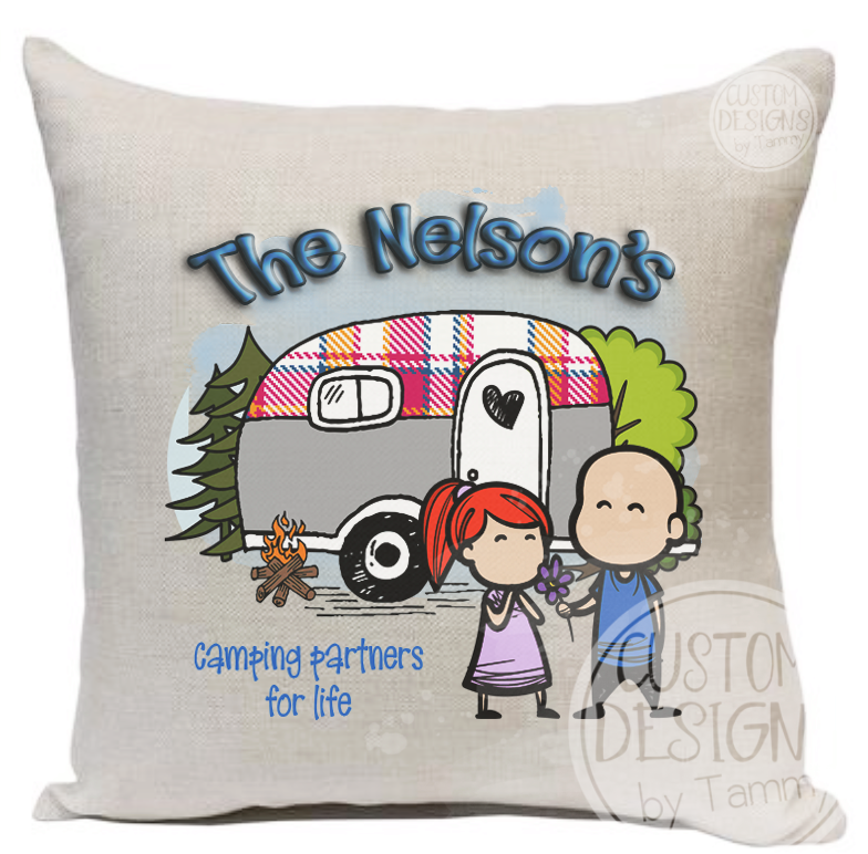 Camping theme pillow