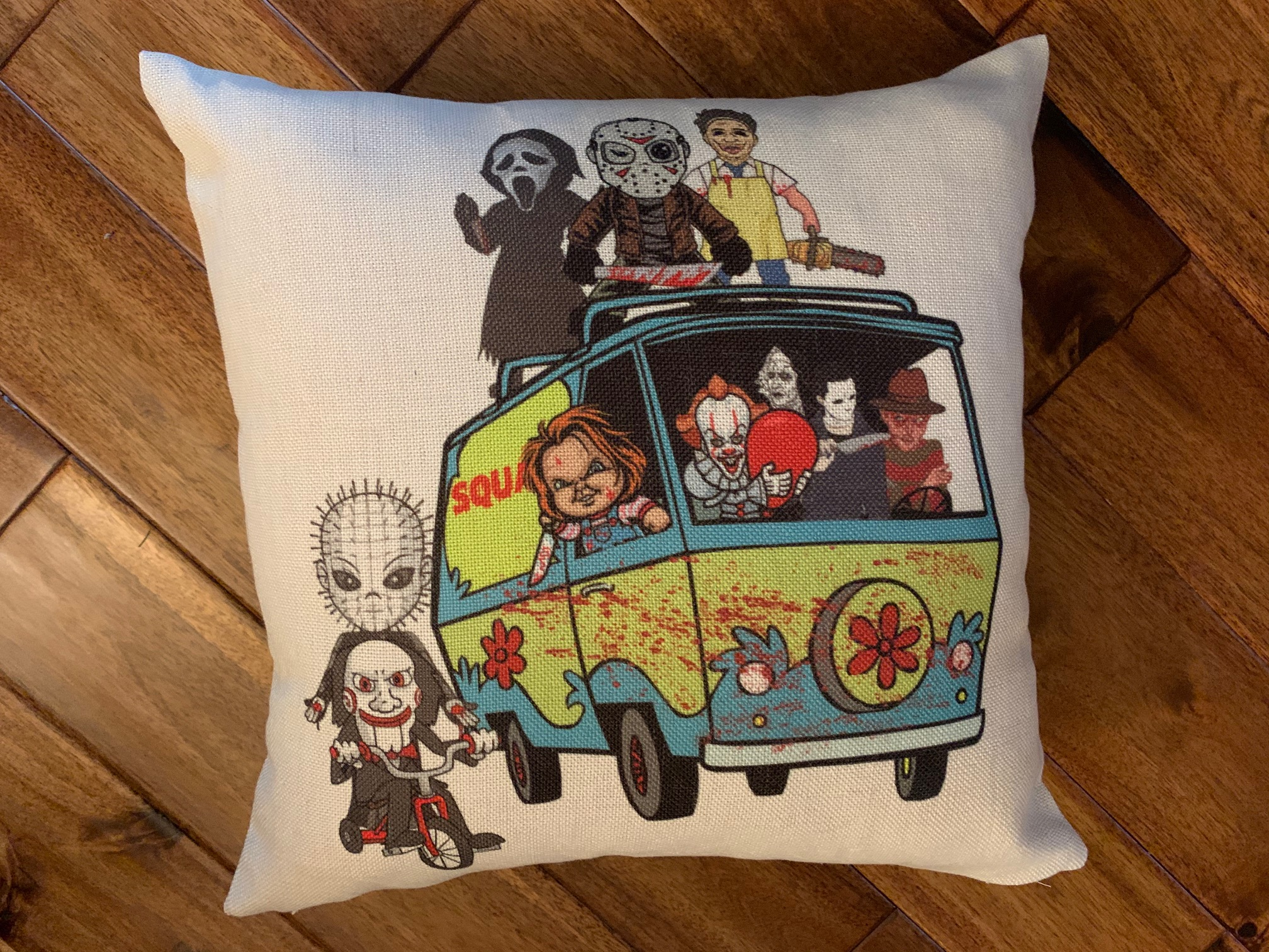 Slasher movie characters pillow