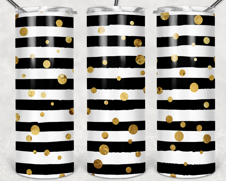 black lines and gold dots tumbler